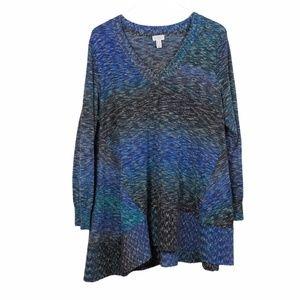 LOGO Lori Goldstein Asymmetrical Tunic Blue 1X